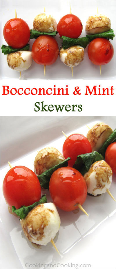 Bocconcini and Mint Skewers
