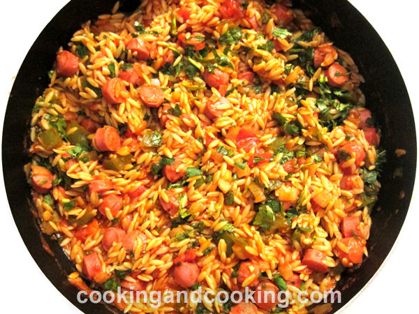 Orzo with Sausage and Cilantro
