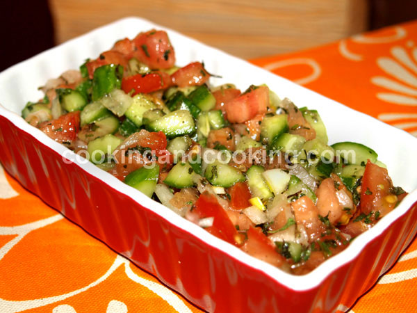 Salad Shirazi, Persian Tomato Cucumber Salad