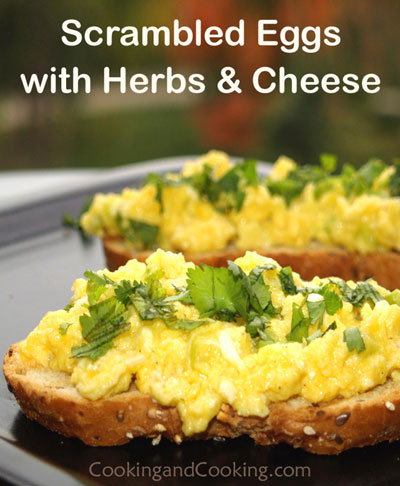 Herb Cream Cheese Scrambled Eggs Recipe — Dishmaps