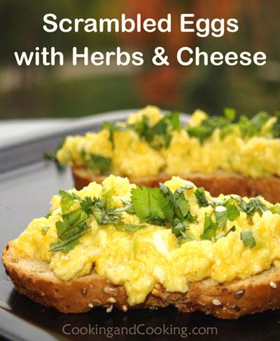Herb Cream Cheese Scrambled Eggs Recipe — Dishmaps